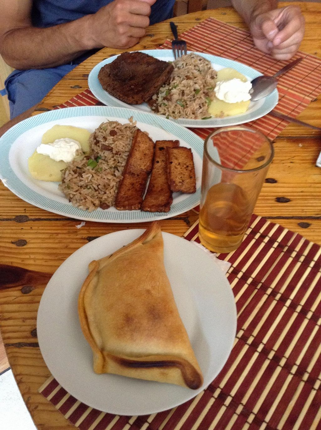 """Photo of Govinda  by <a href=""""/members/profile/eeyoresenigma"""">eeyoresenigma</a> <br/>Yummy empanada and the dish of the day! <br/> October 15, 2015  - <a href='/contact/abuse/image/6747/121381'>Report</a>"""