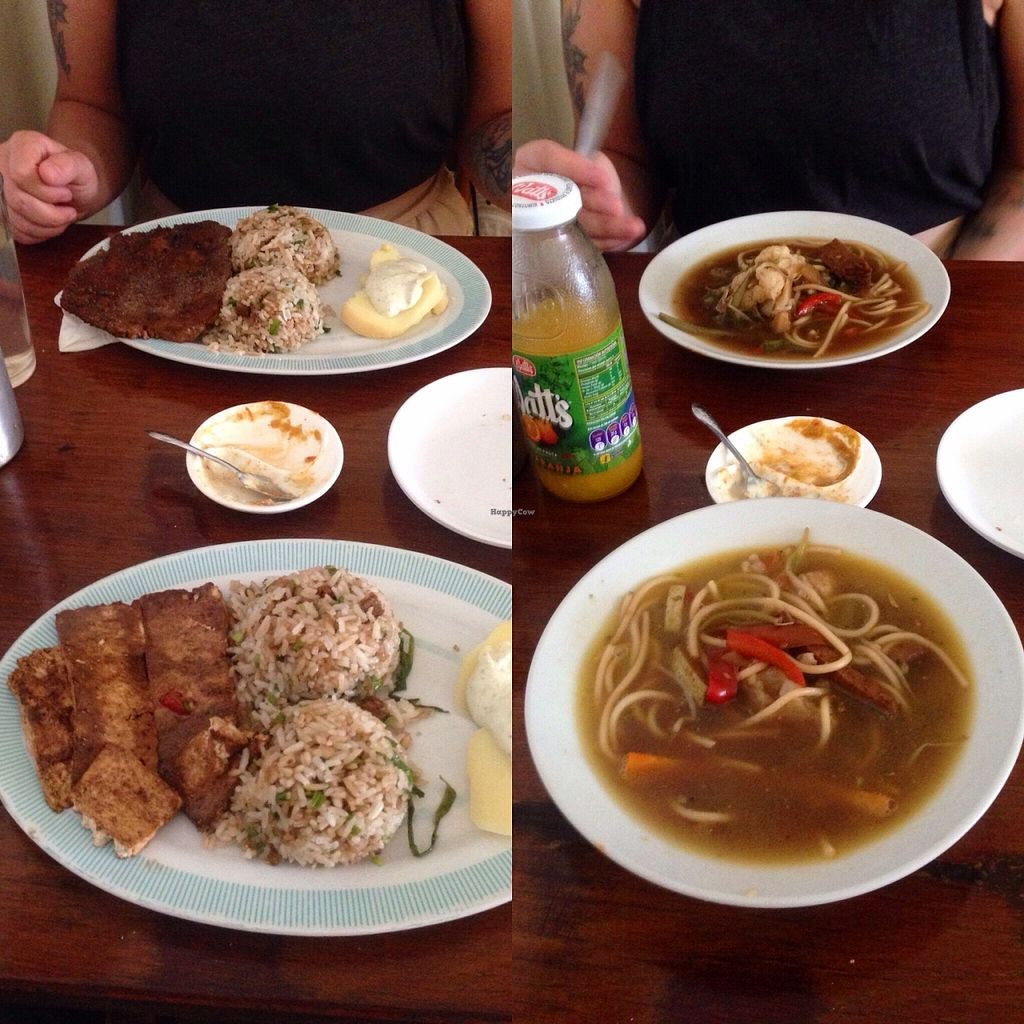 """Photo of Govinda  by <a href=""""/members/profile/pistol_pete"""">pistol_pete</a> <br/>The set menu. Left: The main course. Tofu/seitan with rice (filled with onion, green pepper, and little pieces of seitan), and potato with soy-based mayo. Right: Soup starter. Noodles and vegetable with pieces of seitan <br/> November 26, 2015  - <a href='/contact/abuse/image/6747/126235'>Report</a>"""