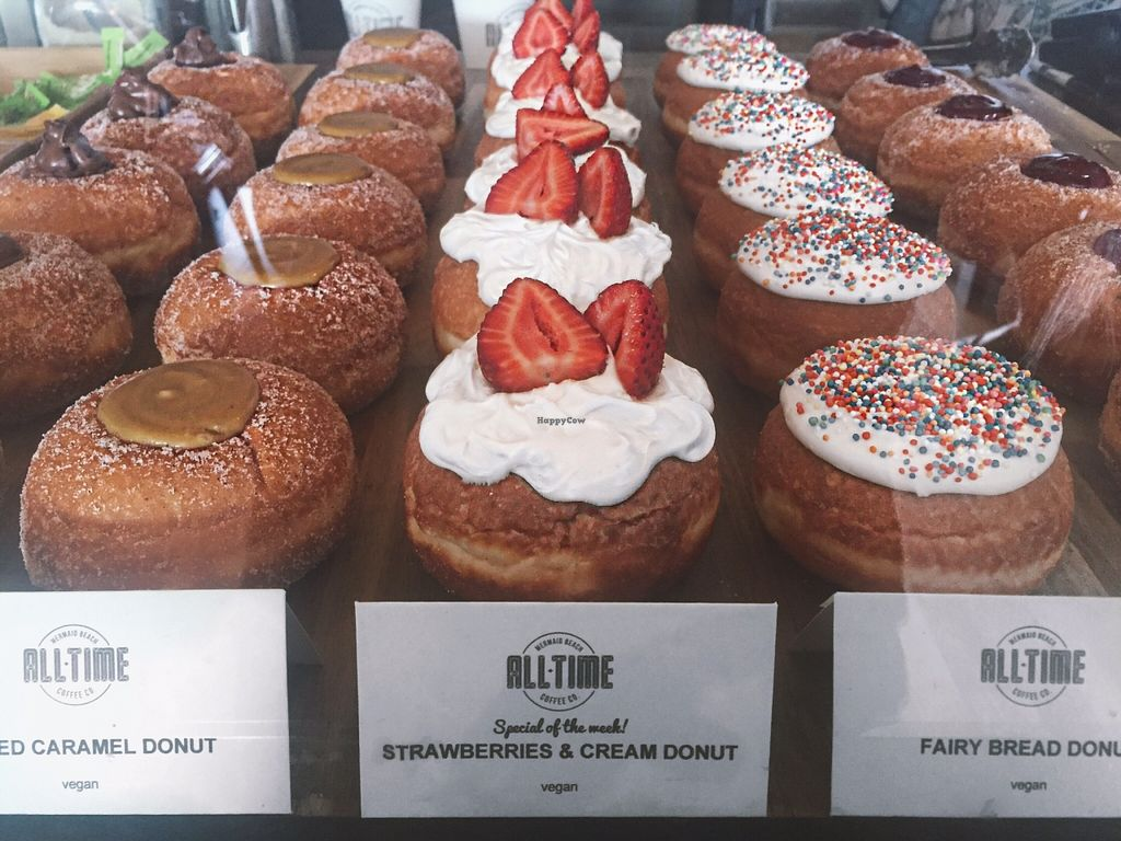 "Photo of All-Time Coffee Co.  by <a href=""/members/profile/ElleHoward"">ElleHoward</a> <br/>Variety of vegan donut flavours  <br/> December 24, 2015  - <a href='/contact/abuse/image/67494/129716'>Report</a>"