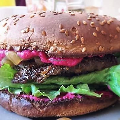 """Photo of La Cocina de Sofia  by <a href=""""/members/profile/MexicanVeganPower"""">MexicanVeganPower</a> <br/>Mediterreanean vegan burger <br/> March 28, 2018  - <a href='/contact/abuse/image/67508/377544'>Report</a>"""