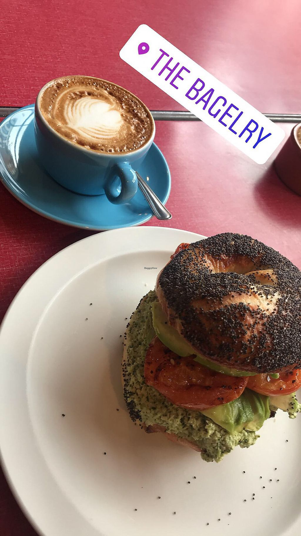 """Photo of The Bagelry   by <a href=""""/members/profile/Mikeando"""">Mikeando</a> <br/>Vegan Bagel @ flat white with soy <br/> March 5, 2018  - <a href='/contact/abuse/image/67526/367125'>Report</a>"""