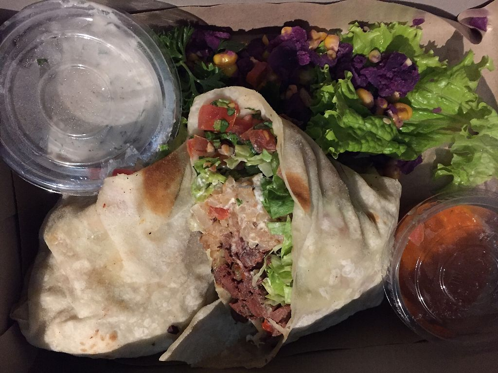 """Photo of Sage  by <a href=""""/members/profile/sarineinnadream"""">sarineinnadream</a> <br/>vegan jackfruit asada burrito to go (special) <br/> July 24, 2017  - <a href='/contact/abuse/image/67565/284223'>Report</a>"""