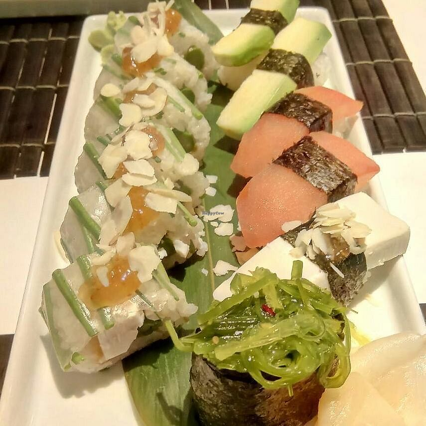 """Photo of Zushi  by <a href=""""/members/profile/Susan1"""">Susan1</a> <br/>The vegan sushi and vegan rolls. Vegan sushi on the left. On the right, the light green ones are avocado rolls, the orange ones are tomato rolls and the white one is tofu roll <br/> December 16, 2017  - <a href='/contact/abuse/image/67670/336107'>Report</a>"""