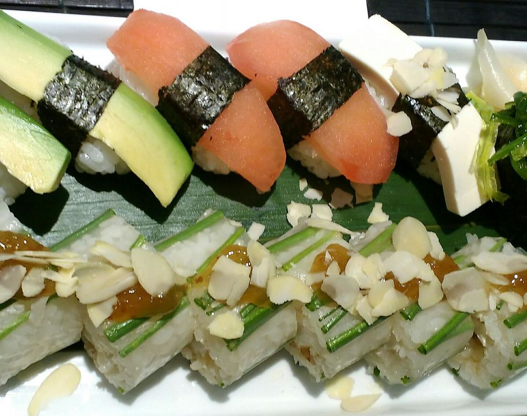 """Photo of Zushi  by <a href=""""/members/profile/Susan1"""">Susan1</a> <br/>Vegan sushi and vegan rolls. The orange ones are tomato rolls <br/> December 16, 2017  - <a href='/contact/abuse/image/67670/336108'>Report</a>"""