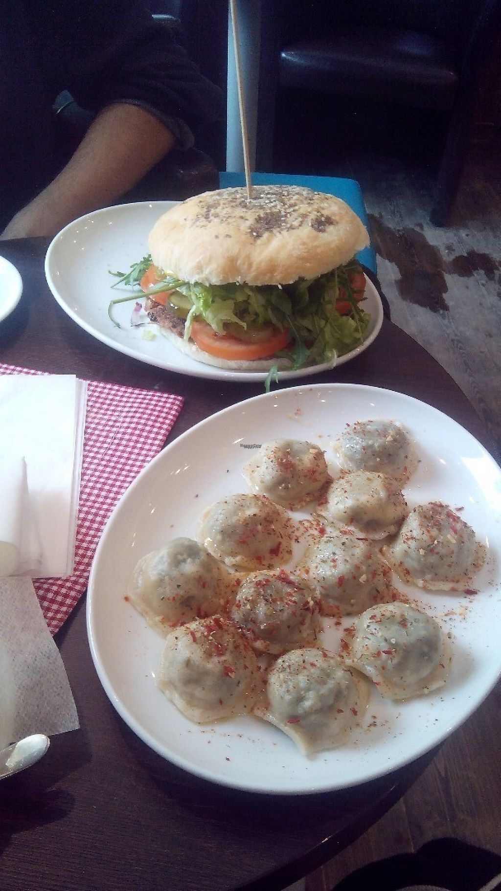 """Photo of Mountain Bar  by <a href=""""/members/profile/bdzsfi"""">bdzsfi</a> <br/>Burger and Spinach pierogi <br/> February 2, 2017  - <a href='/contact/abuse/image/67678/221369'>Report</a>"""