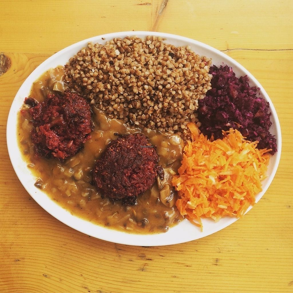 """Photo of Mountain Bar  by <a href=""""/members/profile/saretap"""">saretap</a> <br/>Beetroot and sage cutlets with mushroom sauce, groats and salad <br/> May 25, 2017  - <a href='/contact/abuse/image/67678/262495'>Report</a>"""