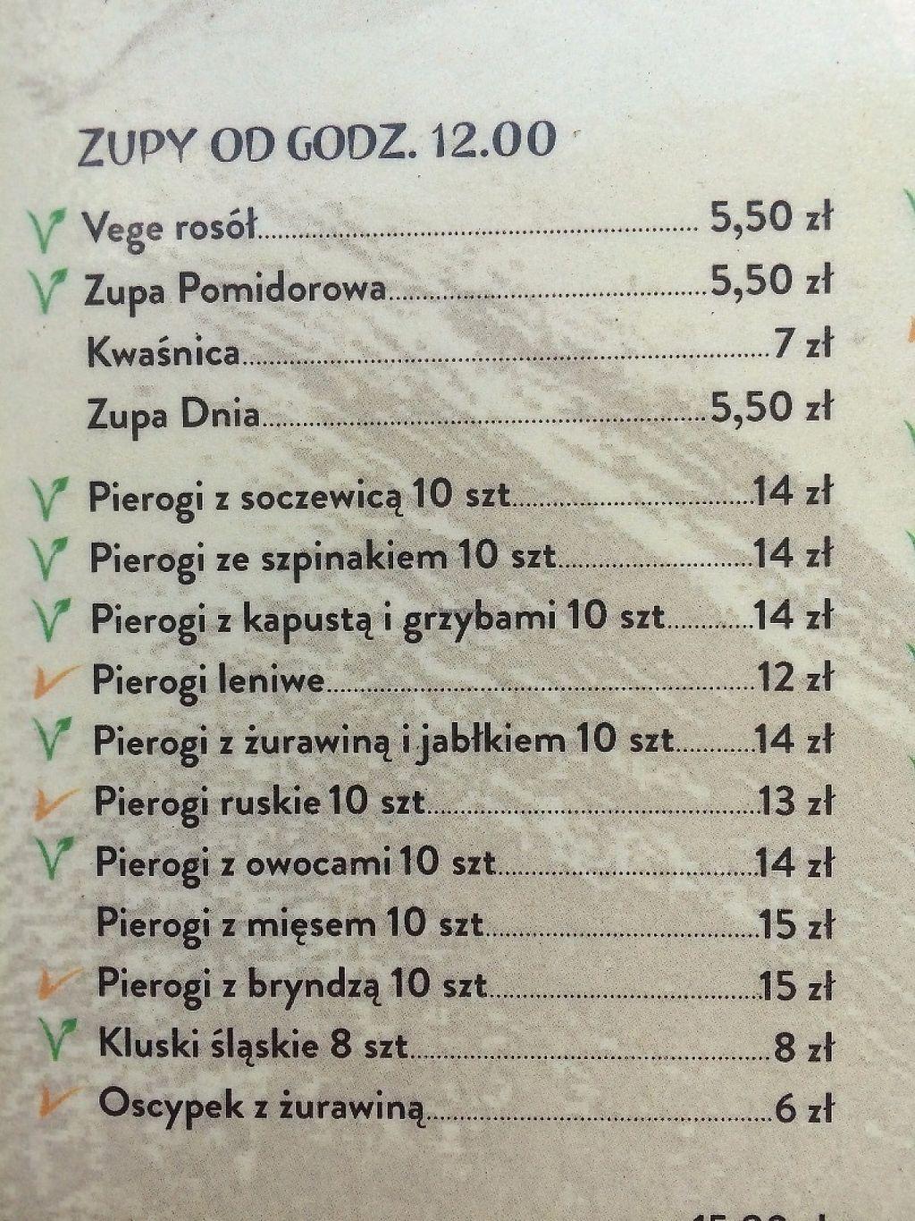 "Photo of Mountain Bar  by <a href=""/members/profile/saretap"">saretap</a> <br/>Menu (Polish only. Green symbol denotes vegan) <br/> May 25, 2017  - <a href='/contact/abuse/image/67678/262499'>Report</a>"