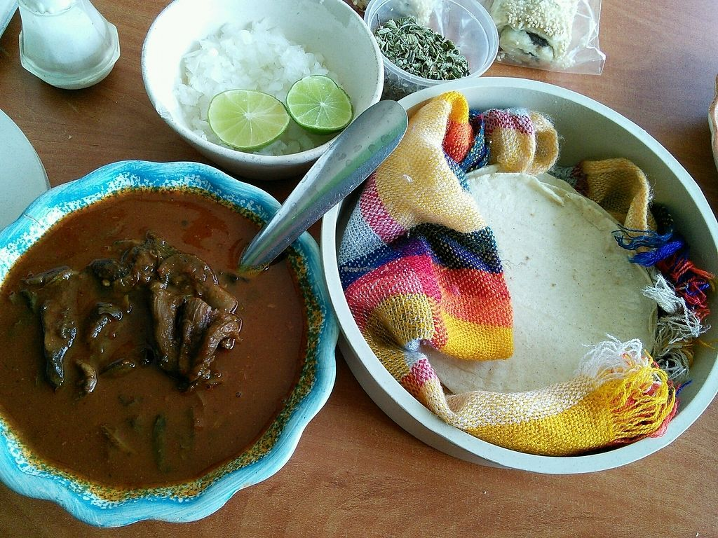 "Photo of Pozole Vegetariano Tia Ofe  by <a href=""/members/profile/Vcup"">Vcup</a> <br/>vegan manudo hongos (mushroom based) <br/> February 7, 2018  - <a href='/contact/abuse/image/67681/355907'>Report</a>"