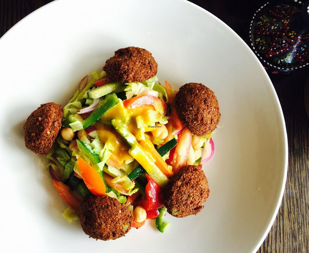"""Photo of 1001 Nights Restaurant & Cafe  by <a href=""""/members/profile/karlaess"""">karlaess</a> <br/>Falafel salad <br/> January 3, 2016  - <a href='/contact/abuse/image/67693/130952'>Report</a>"""