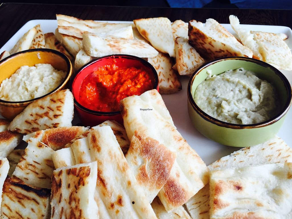 """Photo of 1001 Nights Restaurant & Cafe  by <a href=""""/members/profile/karlaess"""">karlaess</a> <br/>Trio of dips with bread <br/> January 3, 2016  - <a href='/contact/abuse/image/67693/130953'>Report</a>"""