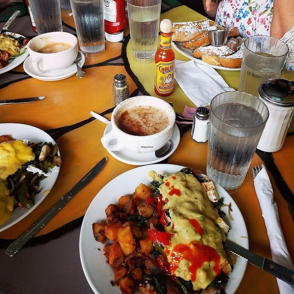 "Photo of Pick Me Up Cafe  by <a href=""/members/profile/makemenervous"">makemenervous</a> <br/>Front & Center - Tofu Benedict and Soy Cappuccino <br/> June 14, 2017  - <a href='/contact/abuse/image/6771/269230'>Report</a>"
