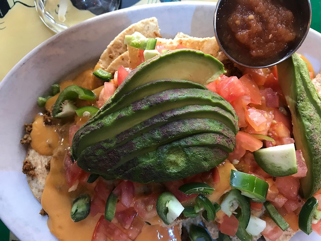 "Photo of Pick Me Up Cafe  by <a href=""/members/profile/Healthychefmeals"">Healthychefmeals</a> <br/>Vegan nachos! <br/> May 25, 2018  - <a href='/contact/abuse/image/6771/405911'>Report</a>"