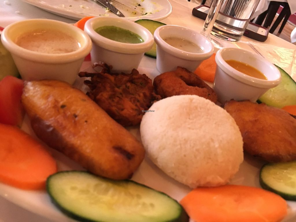 """Photo of Ury Authentic Indian Cuisine  by <a href=""""/members/profile/hack_man"""">hack_man</a> <br/>selection of starters all vegan  <br/> July 9, 2016  - <a href='/contact/abuse/image/67724/158647'>Report</a>"""