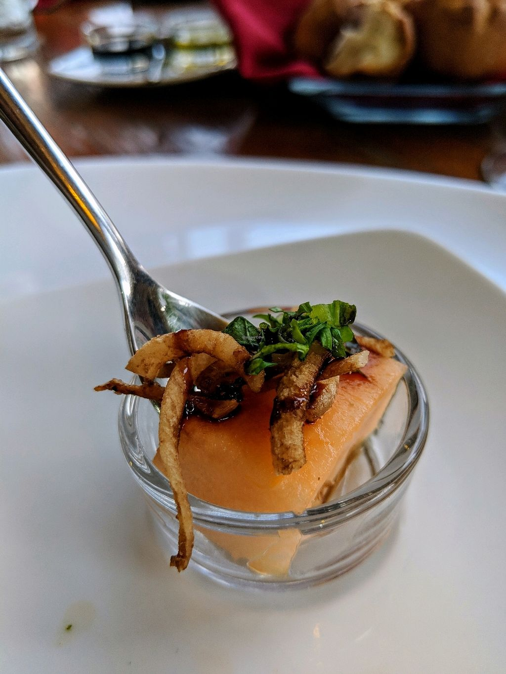 """Photo of Mito   by <a href=""""/members/profile/elenacz"""">elenacz</a> <br/>Amuse Bouche (cantelope with coconut bacon) <br/> April 12, 2018  - <a href='/contact/abuse/image/67741/384305'>Report</a>"""