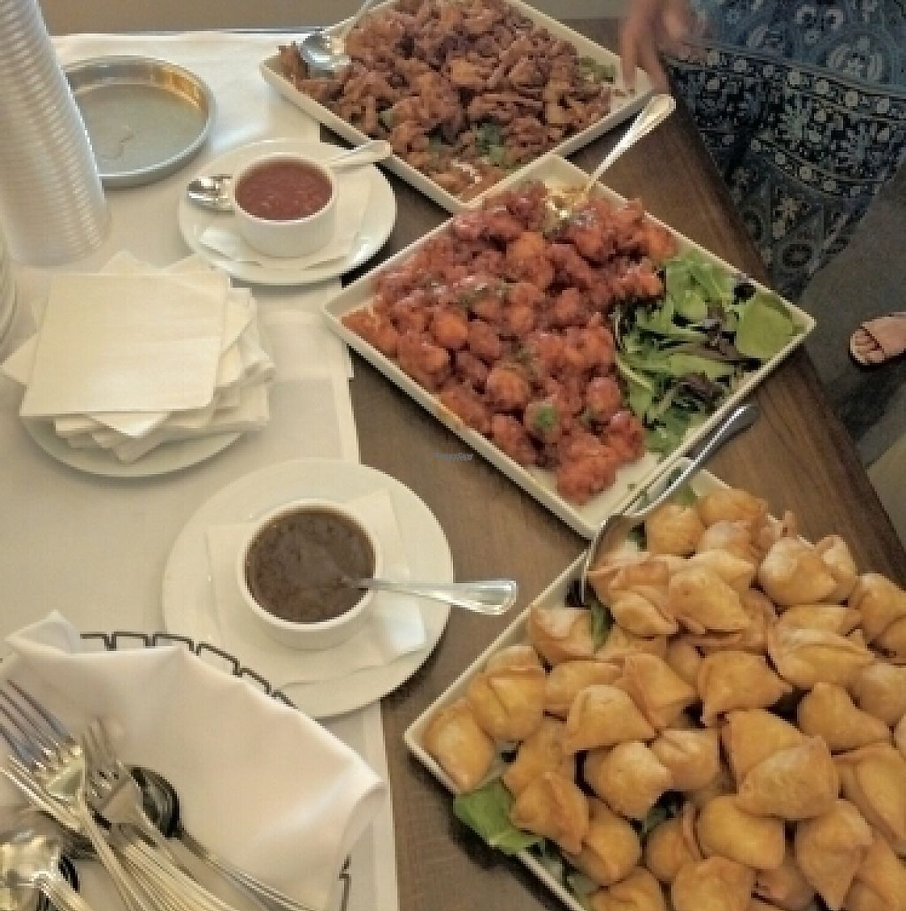 """Photo of Moksha  by <a href=""""/members/profile/The%20Hungry%20Vegan"""">The Hungry Vegan</a> <br/>Plates of Pakora, Samosa, and Gobi <br/> August 23, 2016  - <a href='/contact/abuse/image/67744/232846'>Report</a>"""