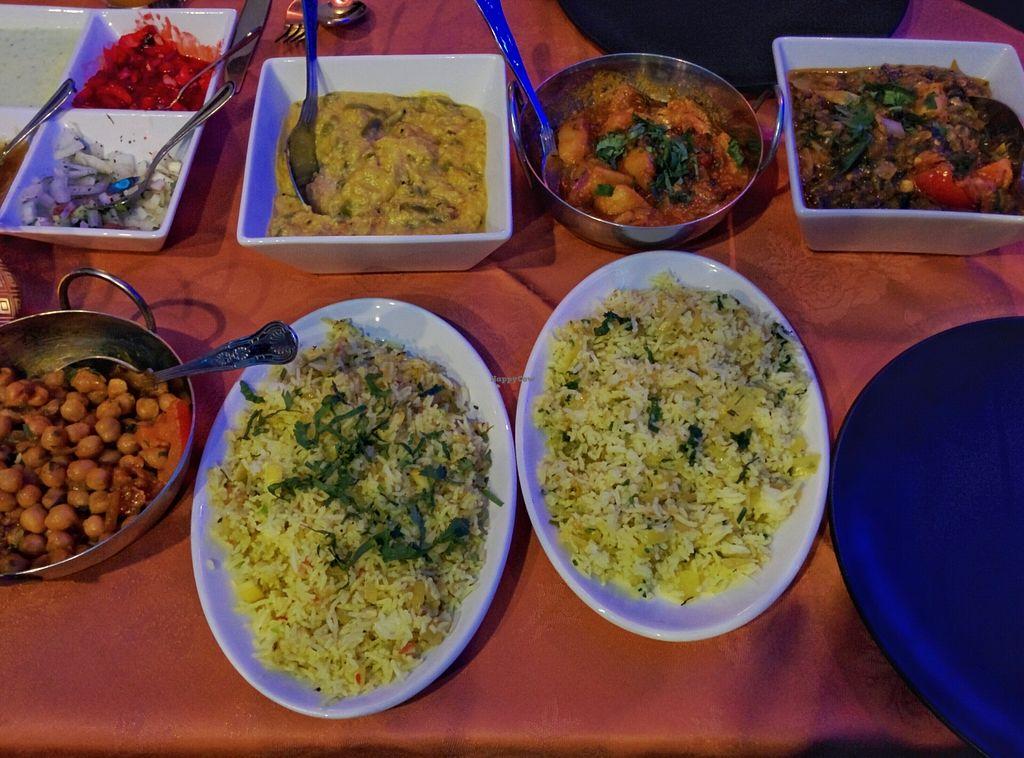 "Photo of Sahaba's  by <a href=""/members/profile/SplashWellyKid"">SplashWellyKid</a> <br/>Sahaba's - clockwise from top left: Poppadom Condiments Tray; Vegetable Korma; Bombay Potato; Sag Wala; Fried Onion Rice; Lemon Rice; Chana Massala <br/> January 1, 2016  - <a href='/contact/abuse/image/67753/130626'>Report</a>"