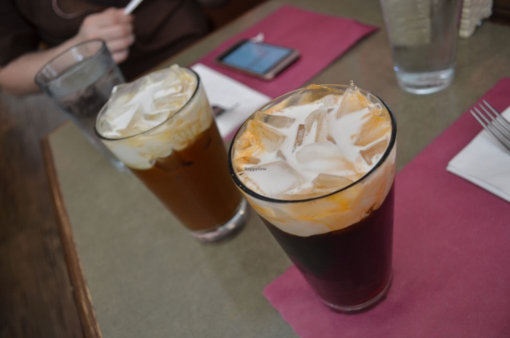 """Photo of Thai Basil Restaurant  by <a href=""""/members/profile/alexandra_vegan"""">alexandra_vegan</a> <br/>Thai tea (roiboos, red tea) and coffe. Both with ice and coconut milk (instad of the regular condensed milk. Included in the menu of the day <br/> May 16, 2016  - <a href='/contact/abuse/image/67778/149316'>Report</a>"""