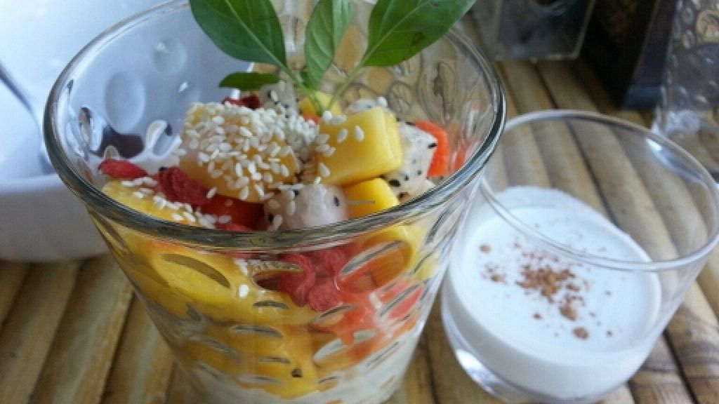 """Photo of SUZ Retreat  by <a href=""""/members/profile/eric"""">eric</a> <br/>granola with fruit and coconut cream <br/> January 2, 2016  - <a href='/contact/abuse/image/67800/130821'>Report</a>"""
