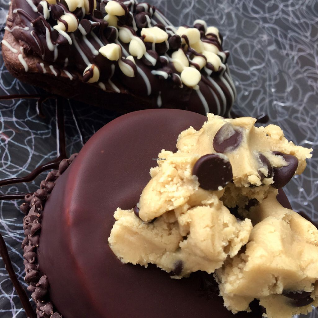 """Photo of Vegan Treats Bakery  by <a href=""""/members/profile/Thepennsyltuckyvegan"""">Thepennsyltuckyvegan</a> <br/>Belgian Cookie Dough Cake and Fudge Brownie <br/> June 3, 2017  - <a href='/contact/abuse/image/6784/265224'>Report</a>"""