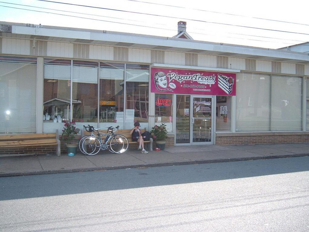 """Photo of Vegan Treats Bakery  by <a href=""""/members/profile/dorisrumours"""">dorisrumours</a> <br/>sitting outside vegan treats enjoying a snack  <br/> September 29, 2014  - <a href='/contact/abuse/image/6784/81620'>Report</a>"""