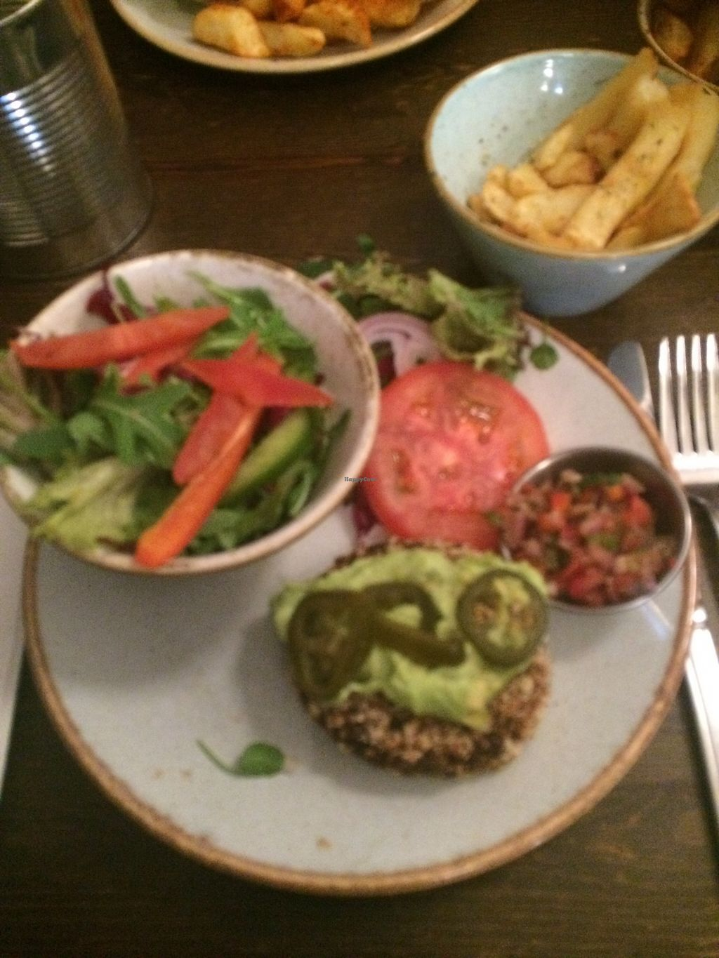 "Photo of Handmade Burger Company  by <a href=""/members/profile/xraysez"">xraysez</a> <br/>Veg mex. No bun. Salad instead.  <br/> August 25, 2017  - <a href='/contact/abuse/image/67867/296962'>Report</a>"