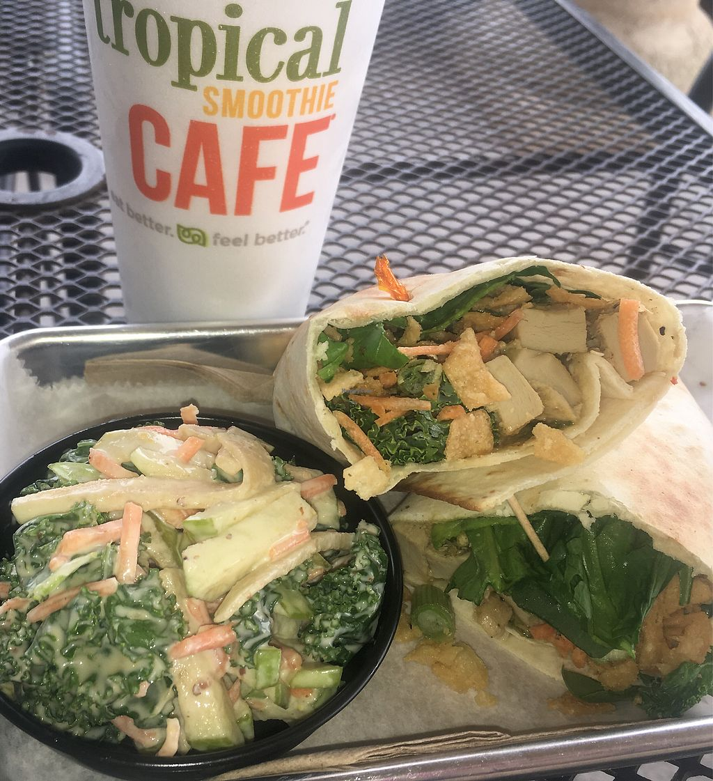 """Photo of Tropical Smoothie Cafe  by <a href=""""/members/profile/EBercaw"""">EBercaw</a> <br/>Thai """"chicken"""" (Beyond Meat) Wrap comes with kale apple slaw <br/> April 15, 2018  - <a href='/contact/abuse/image/67889/386470'>Report</a>"""