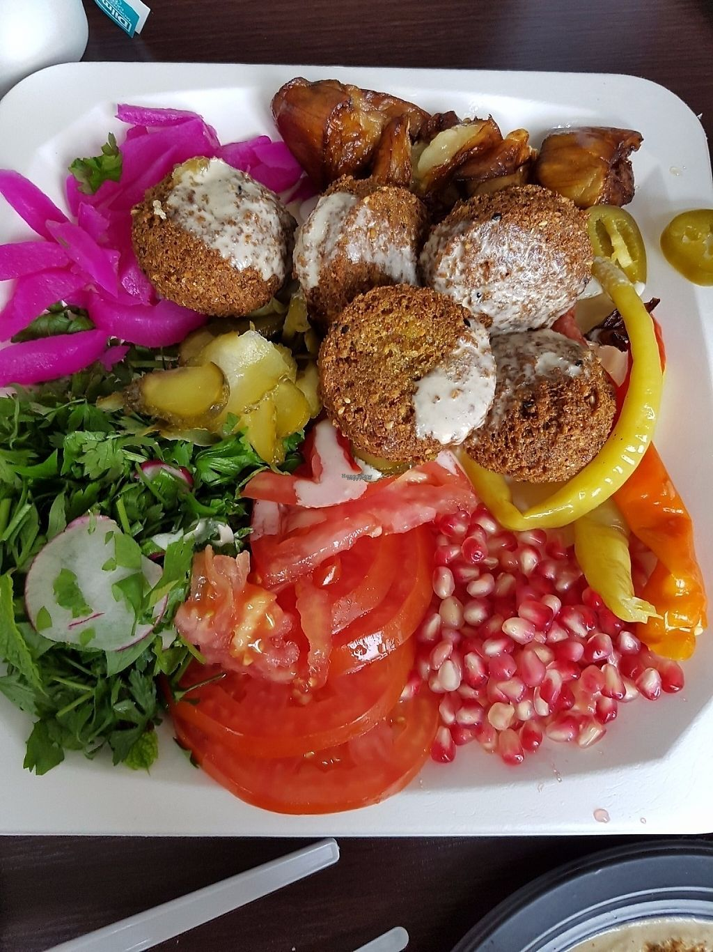 """Photo of Falafel Bejrut - Nowolipki  by <a href=""""/members/profile/japonka"""">japonka</a> <br/>Plate with falafel <br/> January 26, 2017  - <a href='/contact/abuse/image/67895/217122'>Report</a>"""