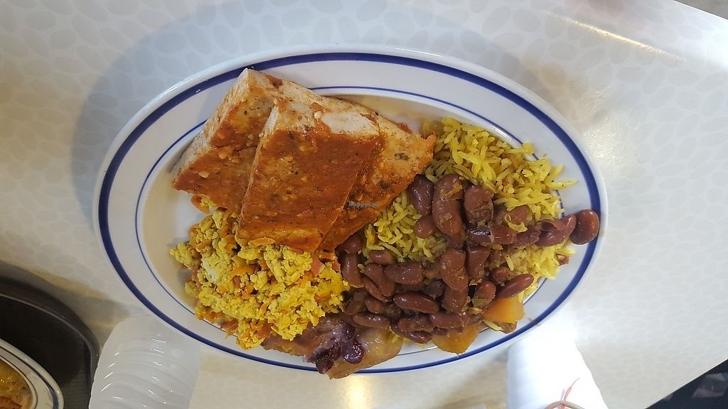 "Photo of Origen  by <a href=""/members/profile/ckaras"">ckaras</a> <br/>Tofu ""parmigiana"", rice with soy chorizo and beans, tofu scramble, and sweet plantains <br/> June 28, 2017  - <a href='/contact/abuse/image/67908/274556'>Report</a>"