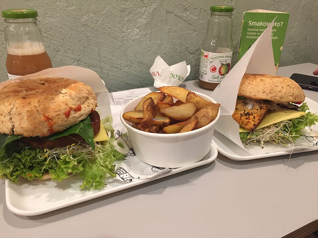 """Photo of Krowarzywa  by <a href=""""/members/profile/StuartWoods"""">StuartWoods</a> <br/>The chickpea burger the tofu burger and some Potato wedges <br/> March 18, 2018  - <a href='/contact/abuse/image/67910/372577'>Report</a>"""