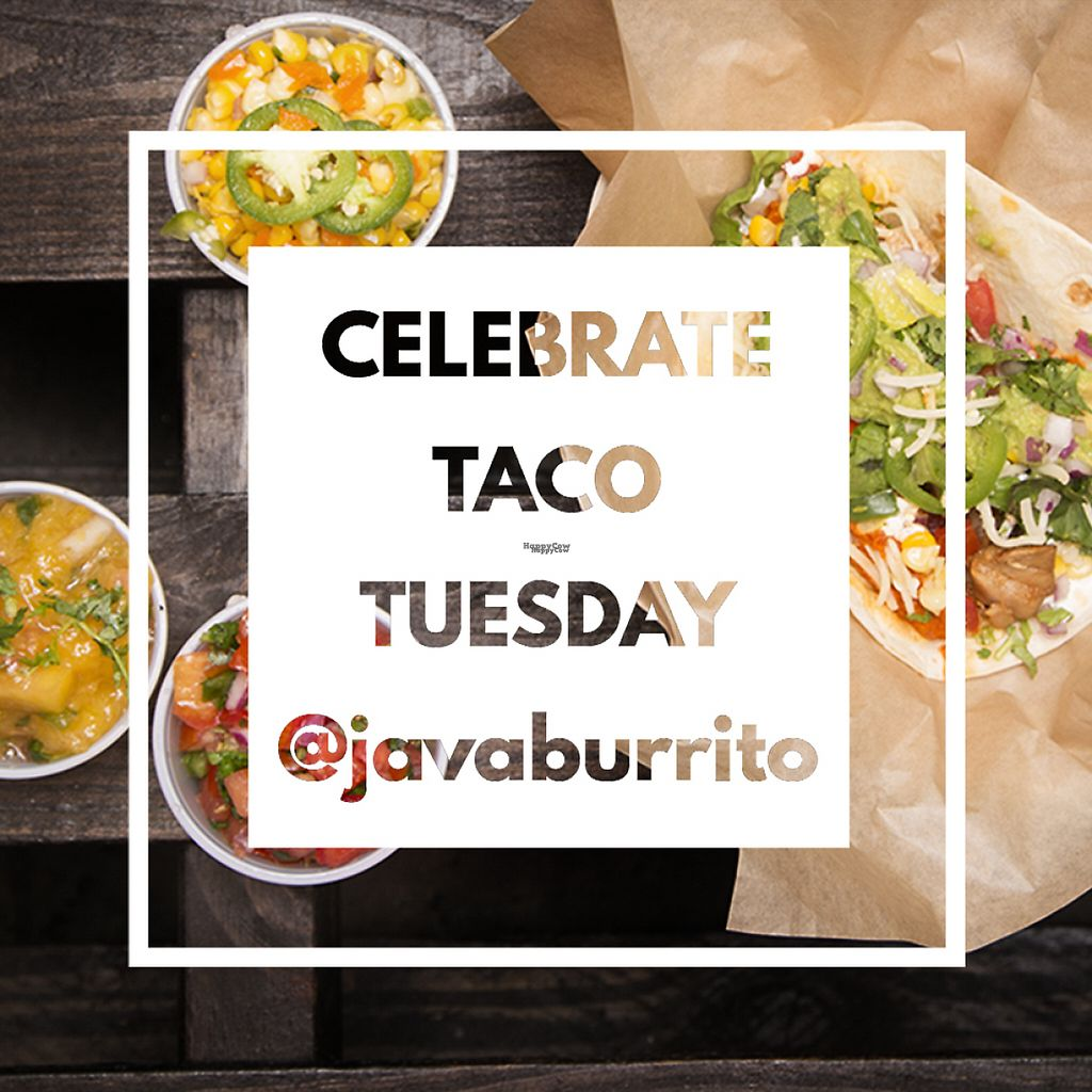 """Photo of Java Burrito  by <a href=""""/members/profile/JavaBurritoCompany"""">JavaBurritoCompany</a> <br/>TACO TUESDAY!!! <br/> February 22, 2017  - <a href='/contact/abuse/image/67911/229481'>Report</a>"""