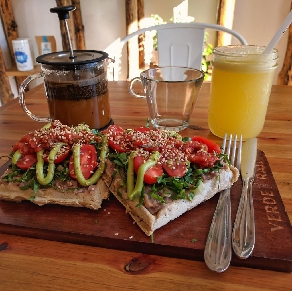 """Photo of Verde Raiz  by <a href=""""/members/profile/swissglobetrotter"""">swissglobetrotter</a> <br/>Waffles Rancheros, local organic coffee and juice <br/> December 21, 2016  - <a href='/contact/abuse/image/67917/203809'>Report</a>"""