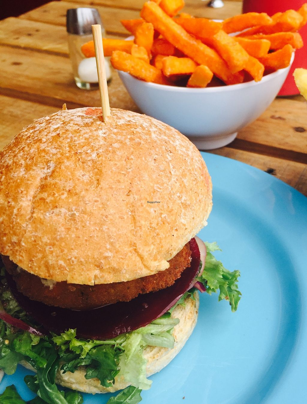 """Photo of Island Burger Bar  by <a href=""""/members/profile/karlaess"""">karlaess</a> <br/>Garden burger and sweet potato fries <br/> January 9, 2016  - <a href='/contact/abuse/image/67924/131761'>Report</a>"""