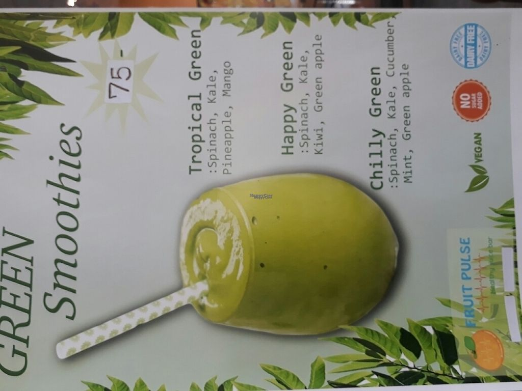 "Photo of Fruit Pulse Juice Bar  by <a href=""/members/profile/LilacHippy"">LilacHippy</a> <br/>Green smoothie menu <br/> March 5, 2017  - <a href='/contact/abuse/image/67938/232878'>Report</a>"