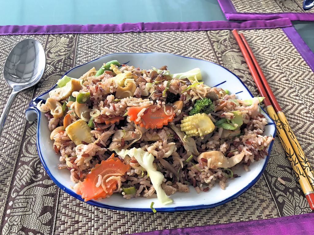 """Photo of 108 Vegetarian Cuisine  by <a href=""""/members/profile/SoniaGivray"""">SoniaGivray</a> <br/>Stir fried brown rice <br/> September 14, 2017  - <a href='/contact/abuse/image/67962/304157'>Report</a>"""