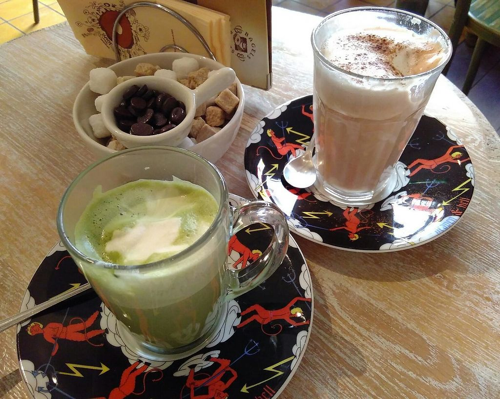 """Photo of Bagels & Beans  by <a href=""""/members/profile/Springofcompassion"""">Springofcompassion</a> <br/>Matcha and chai latte - both vegan :) <br/> October 1, 2017  - <a href='/contact/abuse/image/67966/310645'>Report</a>"""