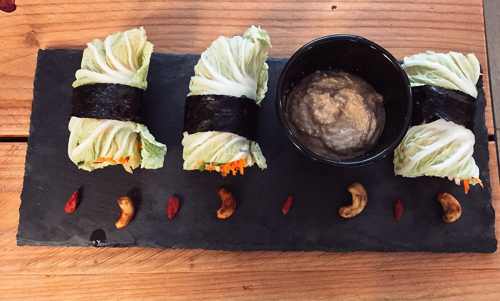 """Photo of Zest for Life  by <a href=""""/members/profile/pierre_a_la_mode"""">pierre_a_la_mode</a> <br/>vegan spring-rolls with veggies wrapped in cabbage leaves & nori with a nice and spicy sauce for dipping. DEE-lish! <br/> June 22, 2017  - <a href='/contact/abuse/image/67972/272273'>Report</a>"""