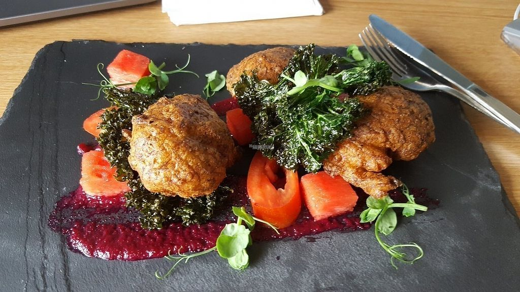 """Photo of Green Britain Centre Vegan Cafe  by <a href=""""/members/profile/GreenBrit"""">GreenBrit</a> <br/>Tempura courgette with heritage tomatoes, watermelon, kale and a beetroot and apple puree <br/> September 13, 2016  - <a href='/contact/abuse/image/67973/175399'>Report</a>"""
