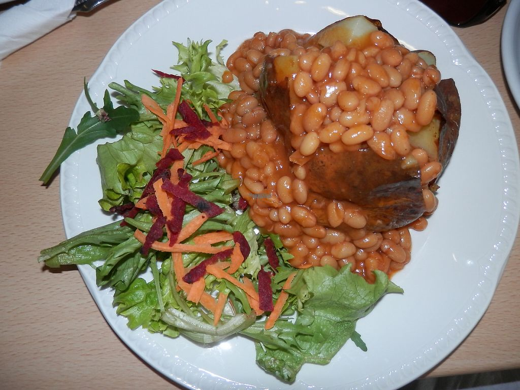 """Photo of Green Britain Centre Vegan Cafe  by <a href=""""/members/profile/Vegan_Belle"""">Vegan_Belle</a> <br/>Jacket potato, baked beans and salad <br/> March 3, 2017  - <a href='/contact/abuse/image/67973/232133'>Report</a>"""