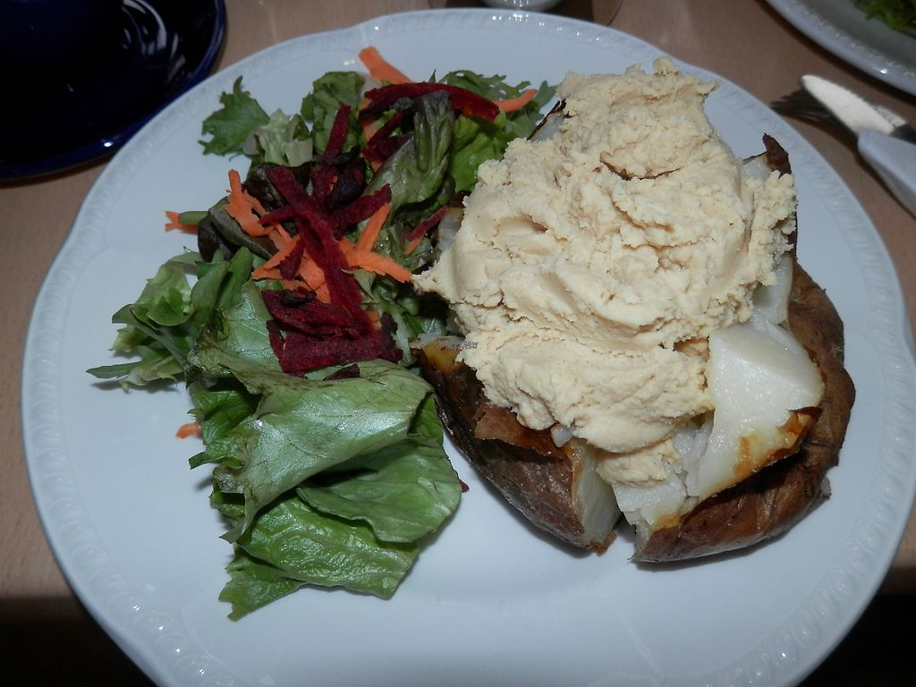 """Photo of Green Britain Centre Vegan Cafe  by <a href=""""/members/profile/Vegan_Belle"""">Vegan_Belle</a> <br/>Jacket potato, hummus and salad <br/> March 3, 2017  - <a href='/contact/abuse/image/67973/232135'>Report</a>"""