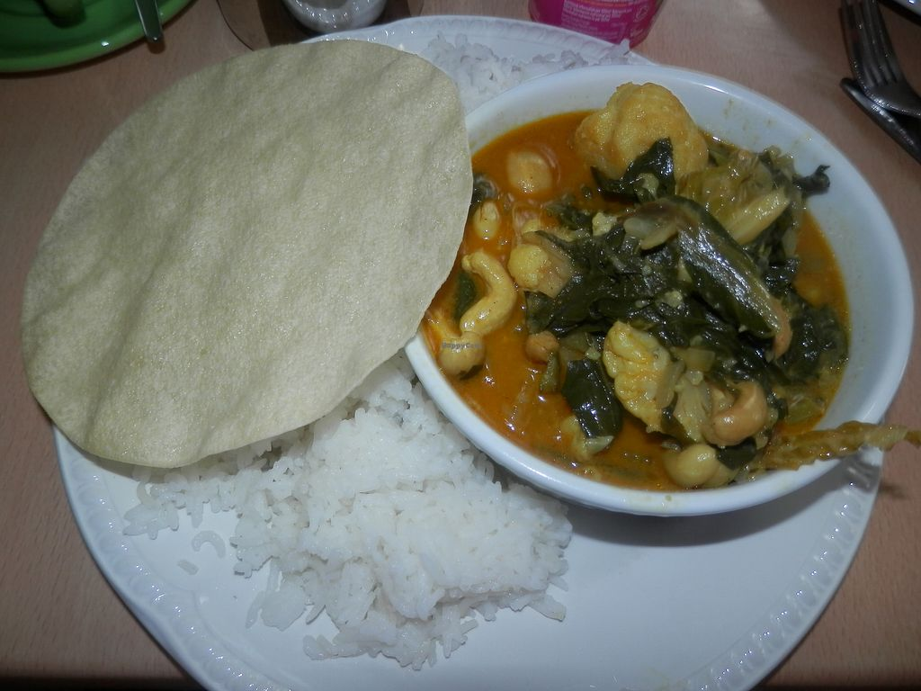 """Photo of Green Britain Centre Vegan Cafe  by <a href=""""/members/profile/Vegan_Belle"""">Vegan_Belle</a> <br/>Cashew and vegetable curry, served with rice and a poppadom.  <br/> July 3, 2017  - <a href='/contact/abuse/image/67973/276307'>Report</a>"""