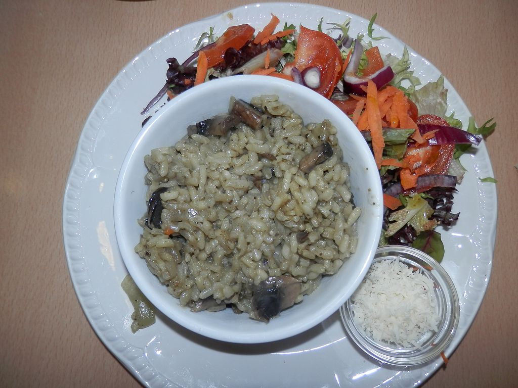 """Photo of Green Britain Centre Vegan Cafe  by <a href=""""/members/profile/Vegan_Belle"""">Vegan_Belle</a> <br/>Mushroom risotto with vegan cheese and salad <br/> March 2, 2018  - <a href='/contact/abuse/image/67973/365861'>Report</a>"""
