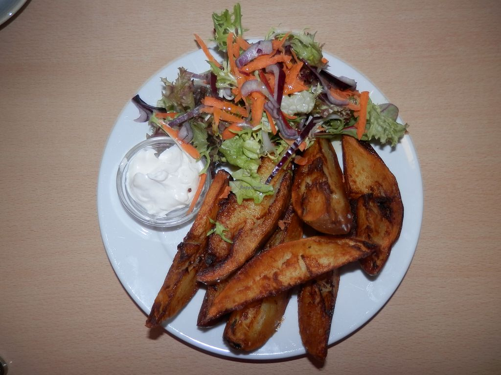 """Photo of Green Britain Centre Vegan Cafe  by <a href=""""/members/profile/Vegan_Belle"""">Vegan_Belle</a> <br/>Potato wedges with salad and vegan garlic mayonnaise <br/> March 2, 2018  - <a href='/contact/abuse/image/67973/365873'>Report</a>"""