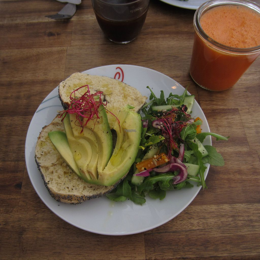 "Photo of Black Sheep Cafe  by <a href=""/members/profile/Allergic_NorVegan"">Allergic_NorVegan</a> <br/>Bagel with avocado & carrot and ginger juice <br/> August 31, 2016  - <a href='/contact/abuse/image/67984/172705'>Report</a>"