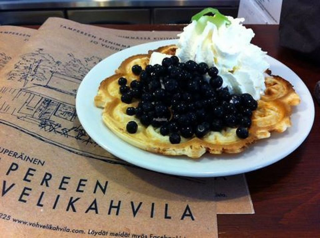 "Photo of Vohvelikahvila  by <a href=""/members/profile/IirisMiettinen"">IirisMiettinen</a> <br/>This is a sweet waffle with blueberries, ice cream and whipped cream <br/> November 26, 2016  - <a href='/contact/abuse/image/67992/194542'>Report</a>"