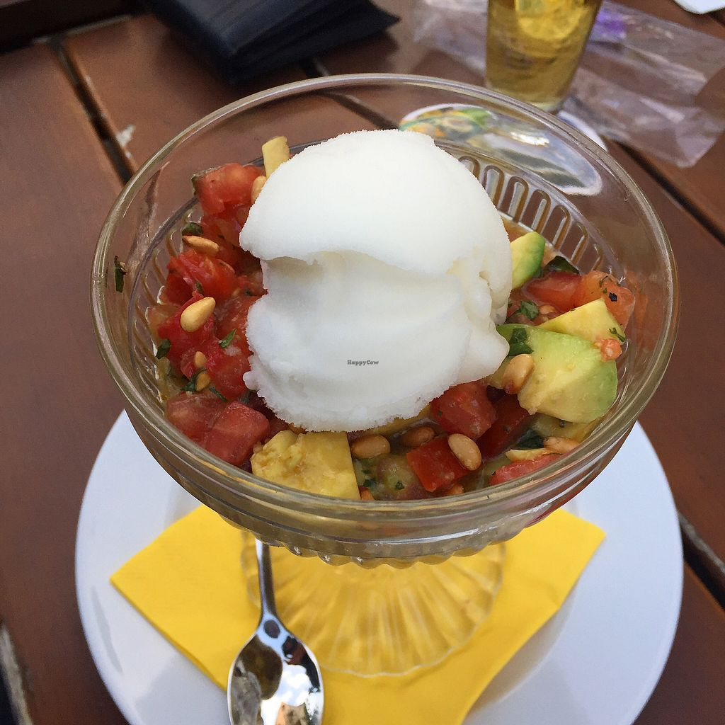 "Photo of Gasthaus zum Anker  by <a href=""/members/profile/vegandesi.res"">vegandesi.res</a> <br/>Vegan lemon sorbet on tomato- avocado salad <br/> September 1, 2017  - <a href='/contact/abuse/image/67995/299756'>Report</a>"