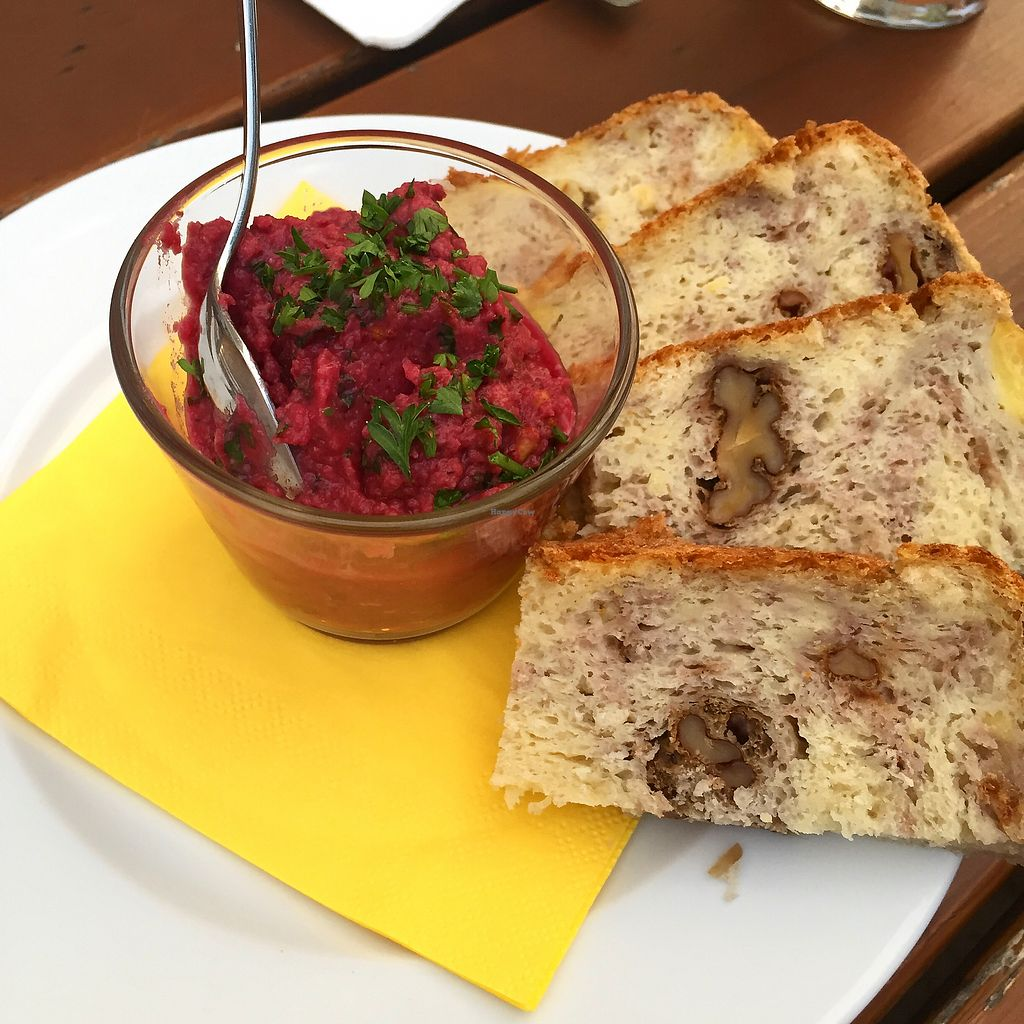 "Photo of Gasthaus zum Anker  by <a href=""/members/profile/vegandesi.res"">vegandesi.res</a> <br/>Vegan beetroot hummus with homemade walnut bread <br/> September 1, 2017  - <a href='/contact/abuse/image/67995/299757'>Report</a>"