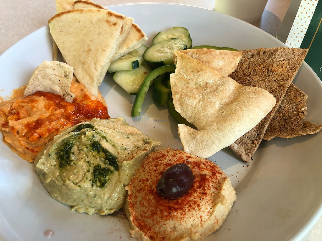 """Photo of Zoe's Kitchen  by <a href=""""/members/profile/Haaspitality"""">Haaspitality</a> <br/>Hummus Sampler (dining in) <br/> December 25, 2017  - <a href='/contact/abuse/image/68010/339058'>Report</a>"""