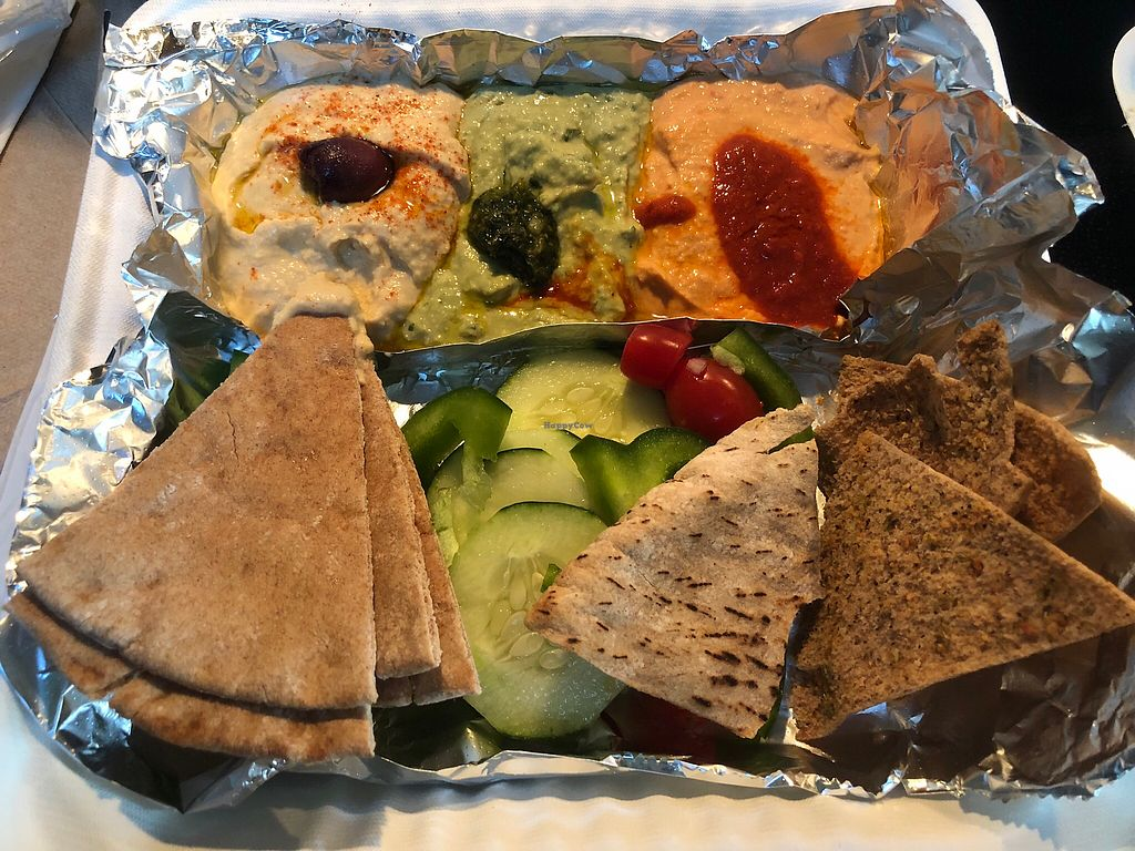 """Photo of Zoe's Kitchen  by <a href=""""/members/profile/Haaspitality"""">Haaspitality</a> <br/>Hummus Sampler (carry out) <br/> December 25, 2017  - <a href='/contact/abuse/image/68010/339059'>Report</a>"""