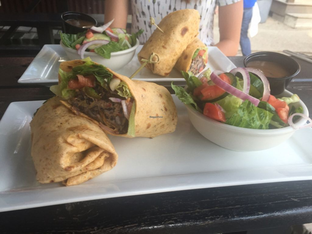 "Photo of Old Town Dispensary  by <a href=""/members/profile/mfmonroe04"">mfmonroe04</a> <br/>vegan black bean burger, hold the pesto, on a tomato basil wrap with a side salad!  <br/> January 7, 2016  - <a href='/contact/abuse/image/68013/131407'>Report</a>"