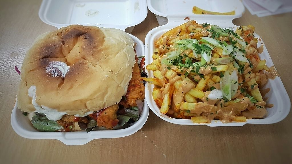 """Photo of Make No Bones  by <a href=""""/members/profile/lhounslea"""">lhounslea</a> <br/>Avocado wing sandwich and satay fries <br/> June 10, 2017  - <a href='/contact/abuse/image/68164/267741'>Report</a>"""